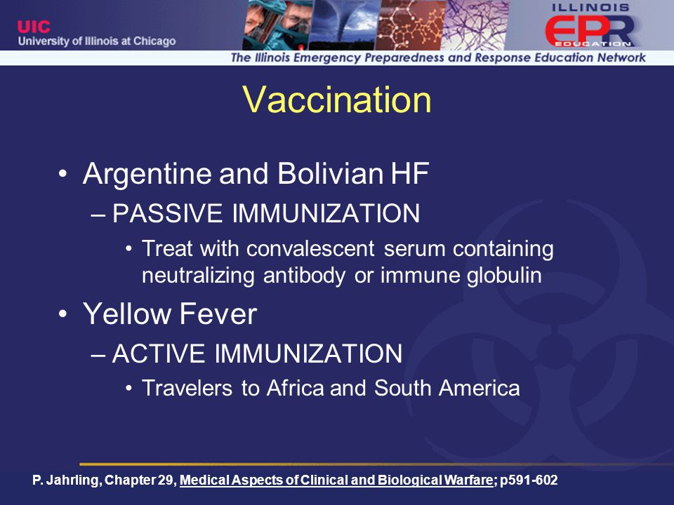 Vaccination Argentine and Bolivian HF Yellow Fever