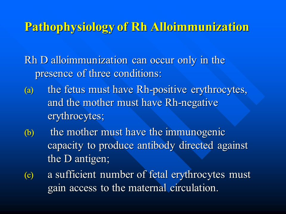 Pathophysiology of Rh Alloimmunization