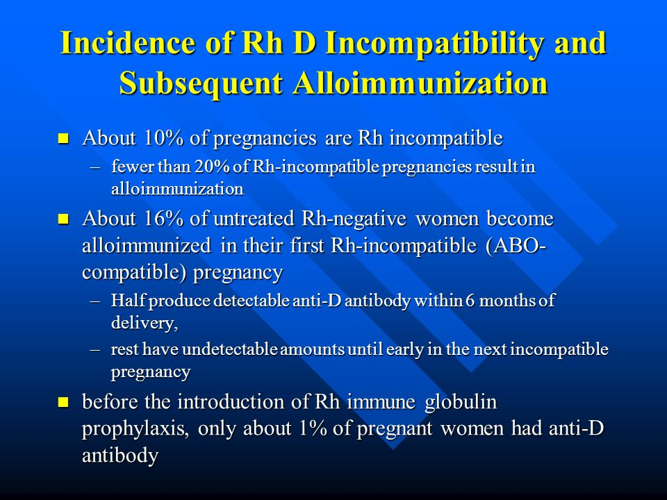 Incidence of Rh D Incompatibility and Subsequent Alloimmunization