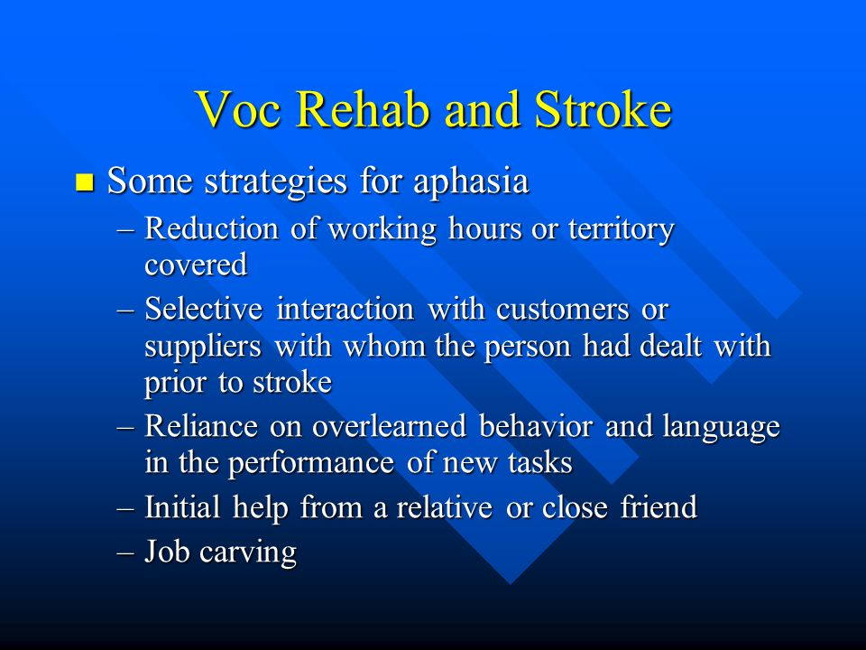 Voc Rehab and Stroke Some strategies for aphasia
