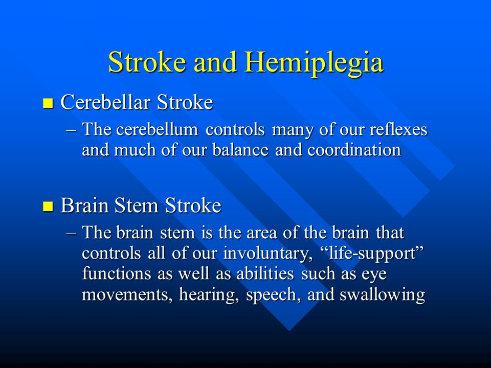 Stroke and Hemiplegia Cerebellar Stroke Brain Stem Stroke