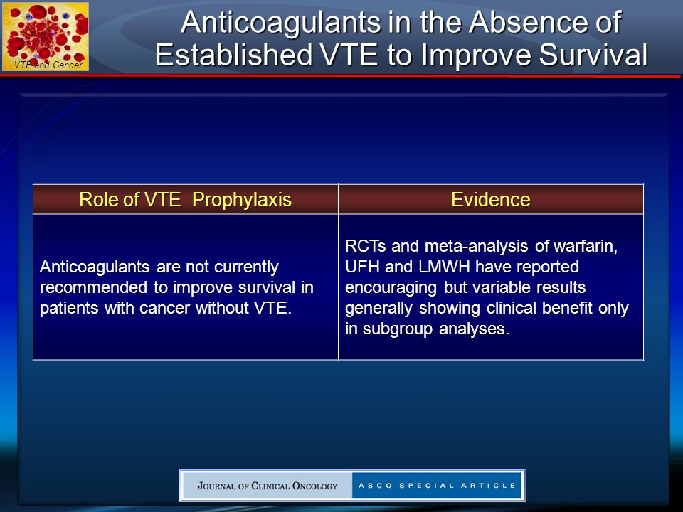 Anticoagulants in the Absence of Established VTE to Improve Survival