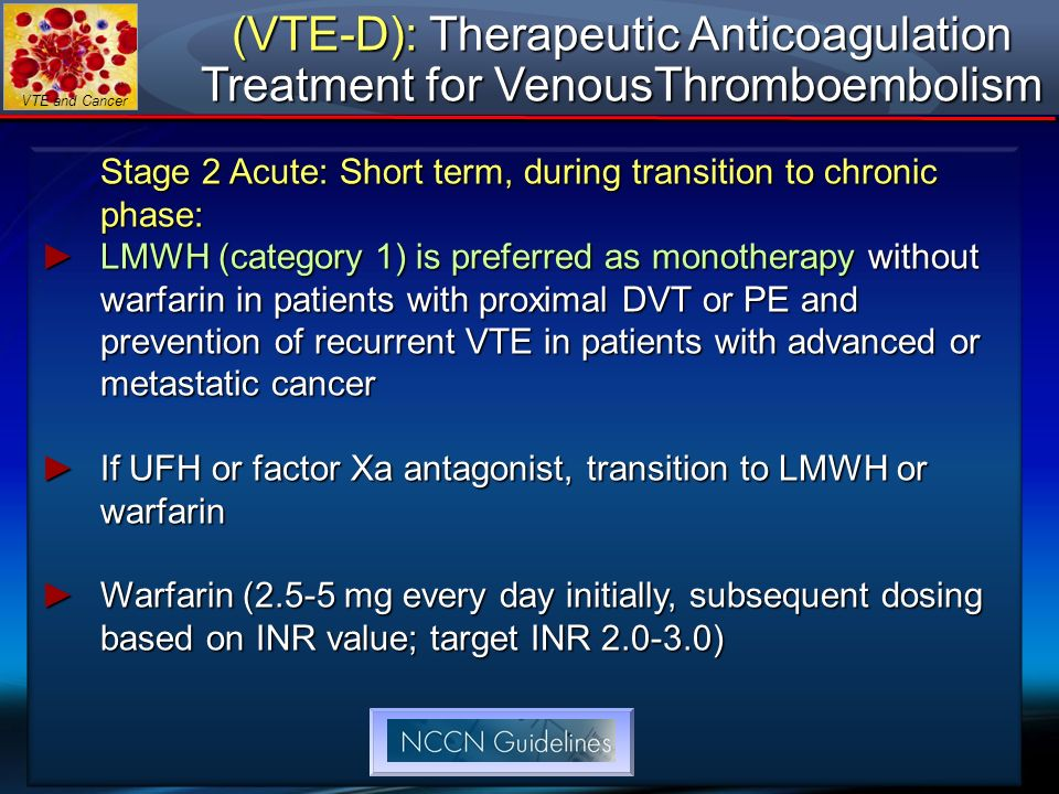 (VTE-D): Therapeutic Anticoagulation Treatment for VenousThromboembolism