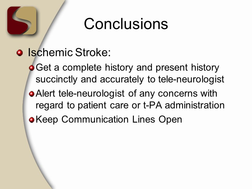 Conclusions Ischemic Stroke: