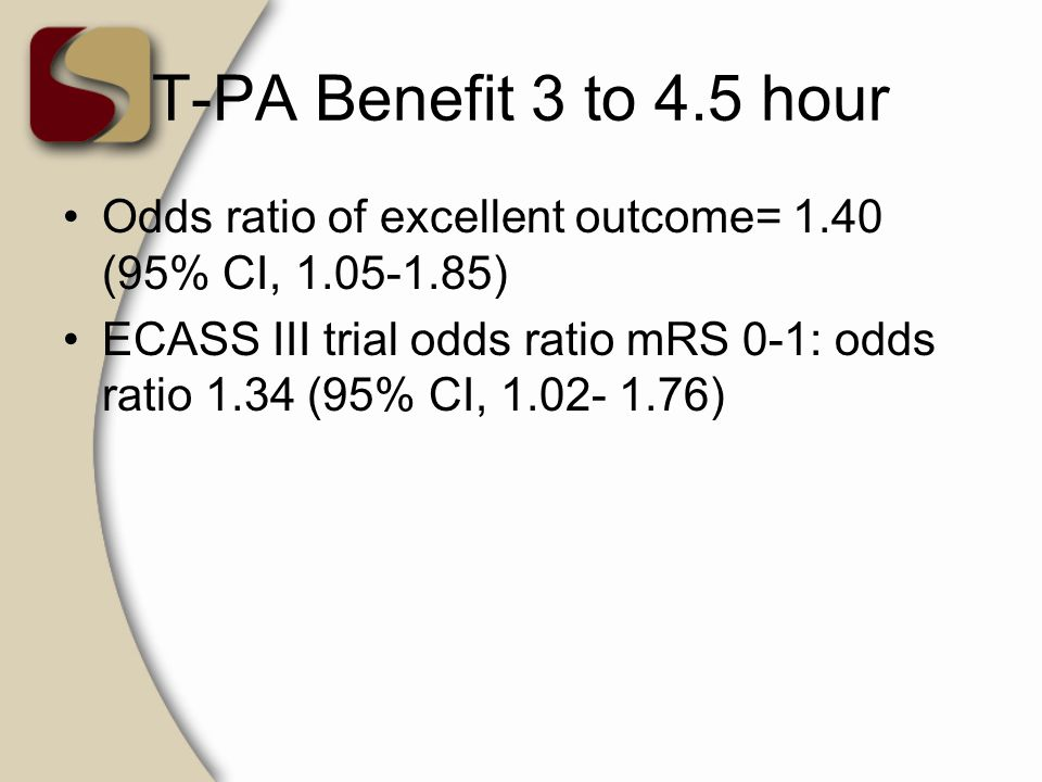 T-PA Benefit 3 to 4.5 hour Odds ratio of excellent outcome= 1.40 (95% CI, 1.05-1.85)