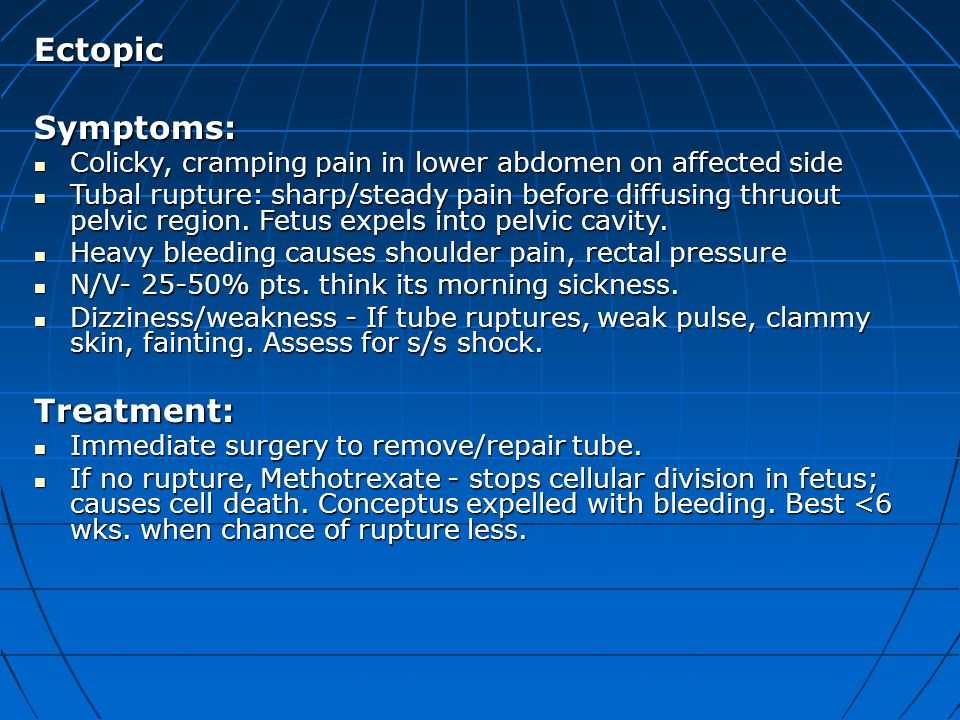 Ectopic Symptoms: Treatment: