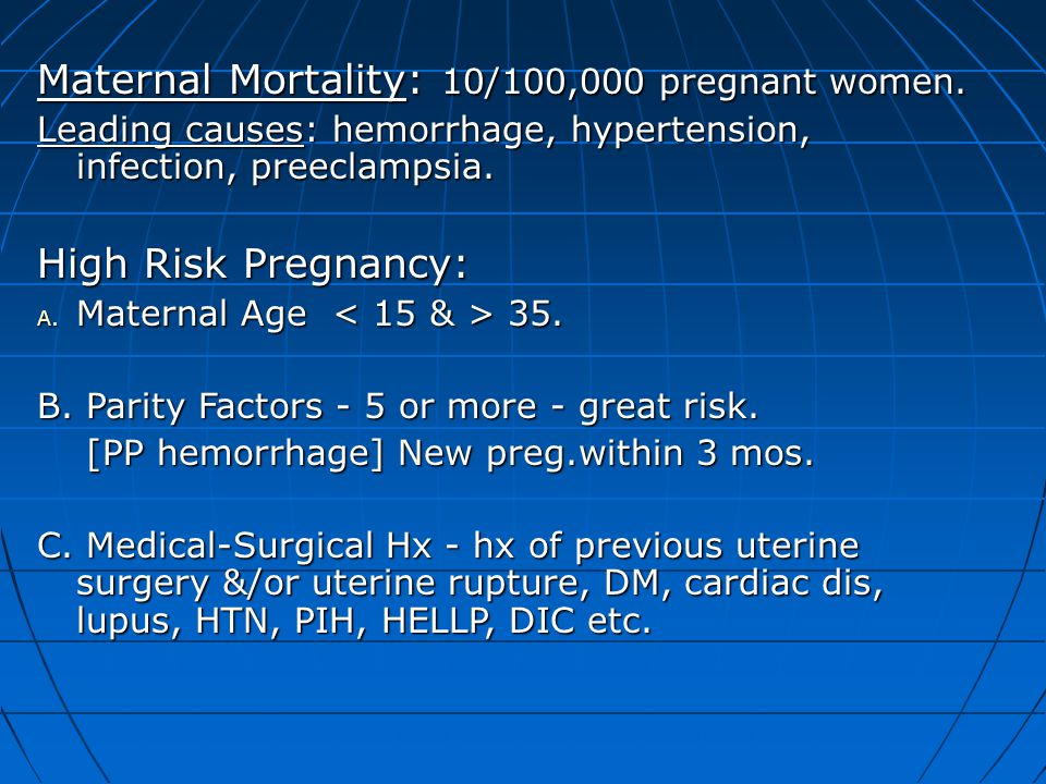Maternal Mortality: 10/100,000 pregnant women.