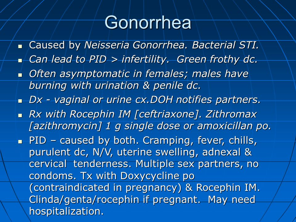 Gonorrhea Caused by Neisseria Gonorrhea. Bacterial STI.