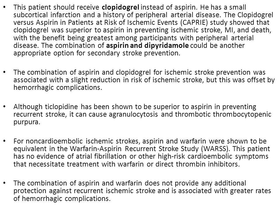 This patient should receive clopidogrel instead of aspirin