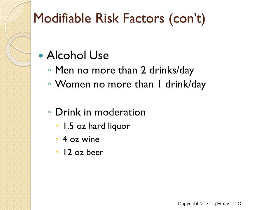 Modifiable Risk Factors (con't)