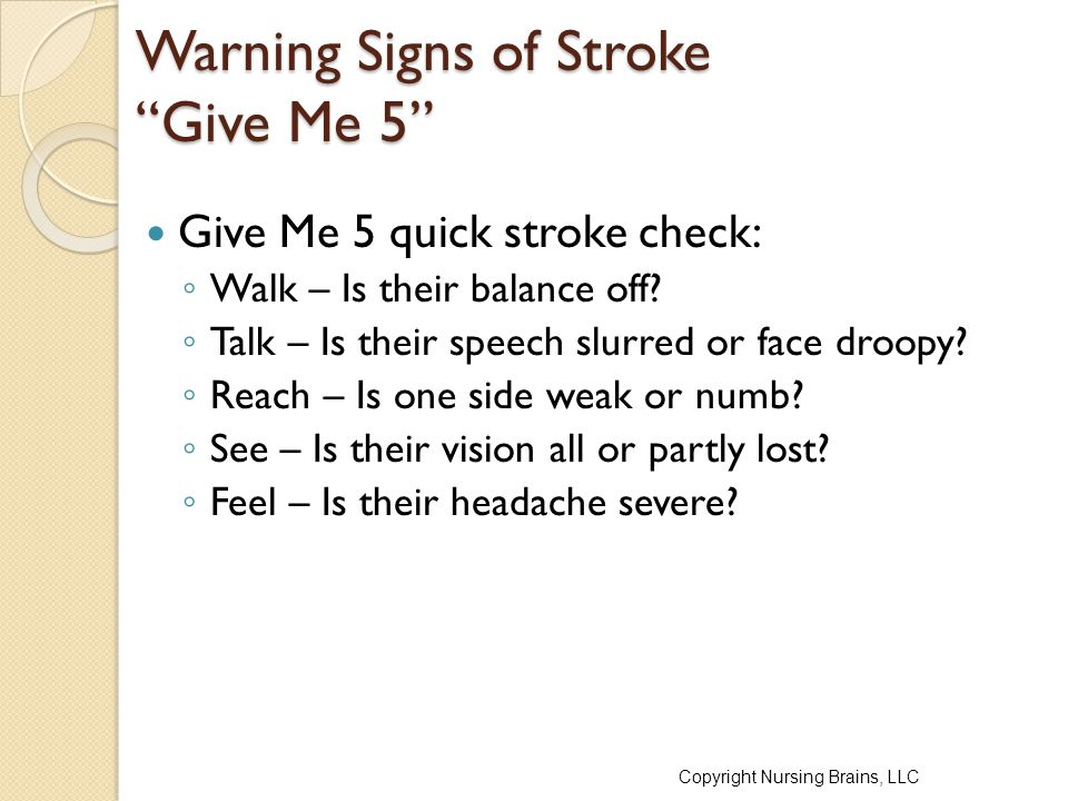 Warning Signs of Stroke Give Me 5