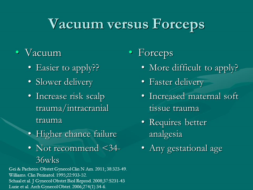 Vacuum versus Forceps Vacuum Forceps Easier to apply