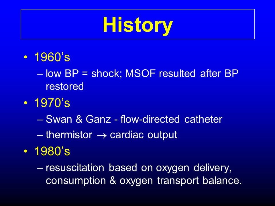 History 1960's. low BP = shock; MSOF resulted after BP restored. 1970's. Swan & Ganz - flow-directed catheter.