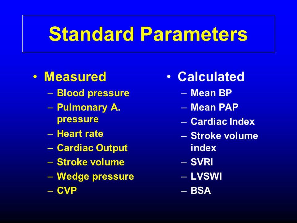 Standard Parameters Measured Calculated Blood pressure