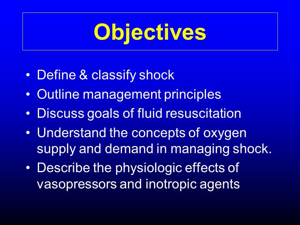 Objectives Define & classify shock Outline management principles