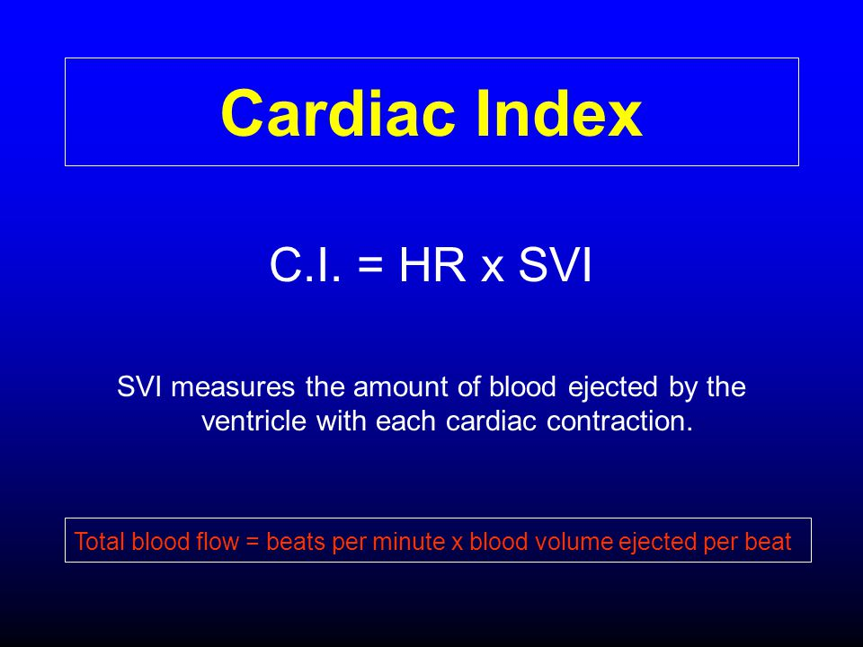 Cardiac Index C.I. = HR x SVI