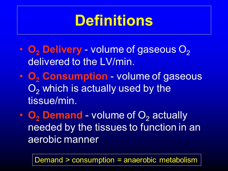 Definitions O2 Delivery - volume of gaseous O2 delivered to the LV/min.