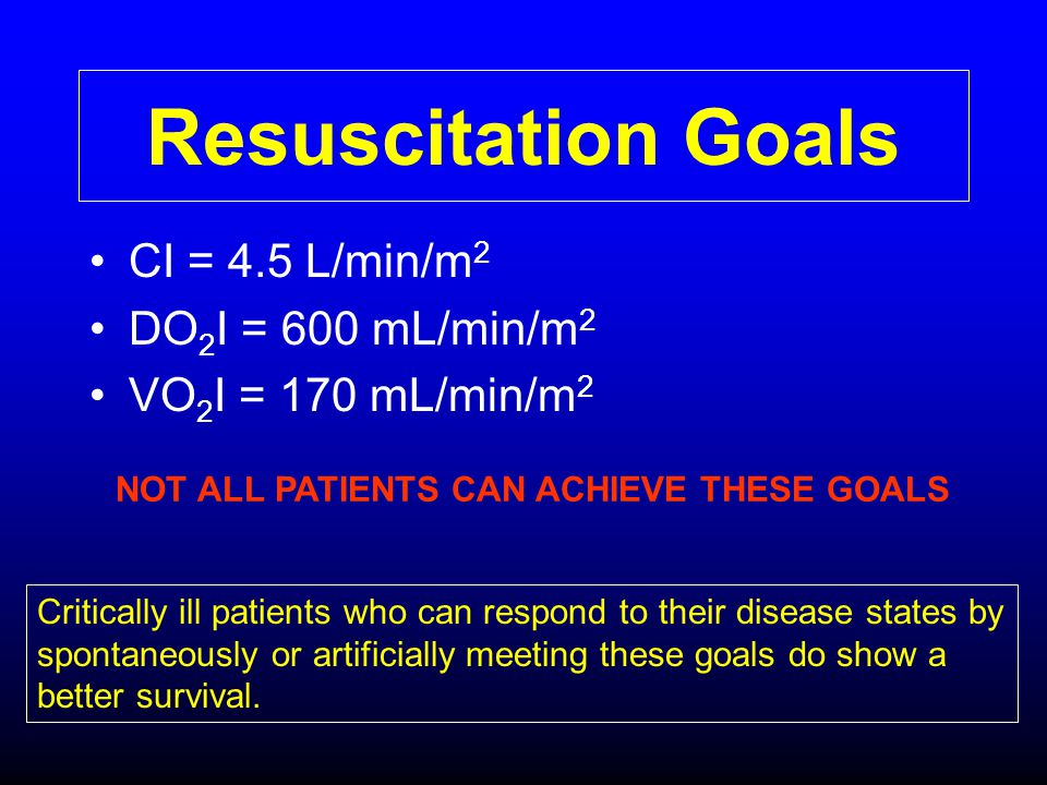 Resuscitation Goals CI = 4.5 L/min/m2 DO2I = 600 mL/min/m2