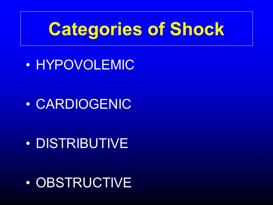 Categories of Shock HYPOVOLEMIC CARDIOGENIC DISTRIBUTIVE OBSTRUCTIVE