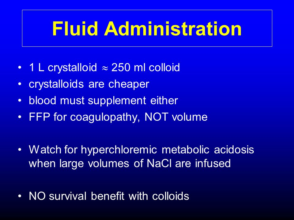 Fluid Administration 1 L crystalloid  250 ml colloid