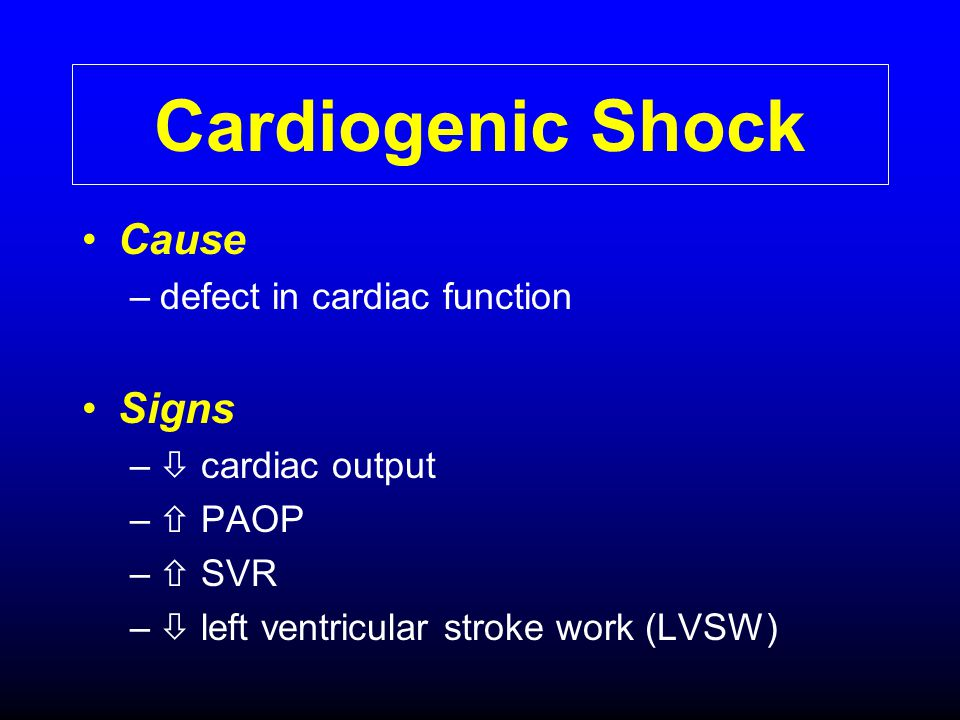 Cardiogenic Shock Cause Signs defect in cardiac function