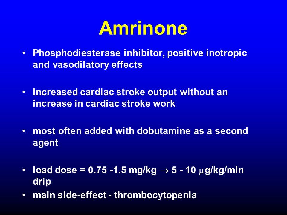 Amrinone Phosphodiesterase inhibitor, positive inotropic and vasodilatory effects.