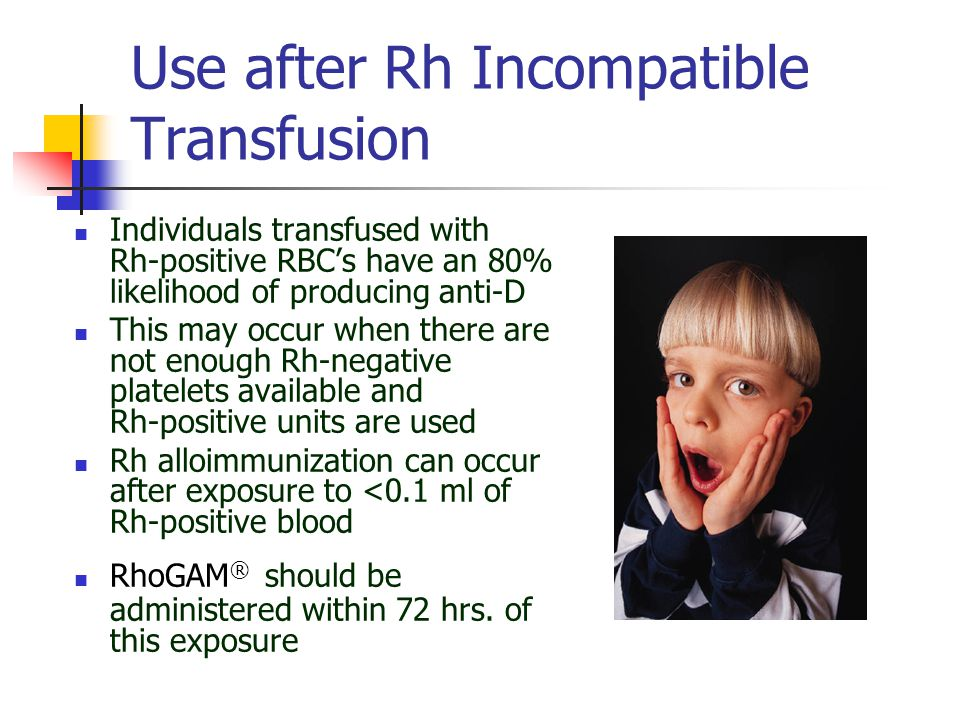 Use after Rh Incompatible Transfusion