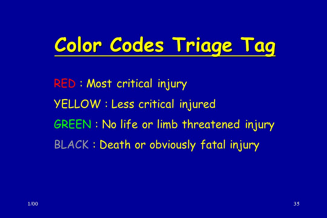 Color Codes Triage Tag RED : Most critical injury