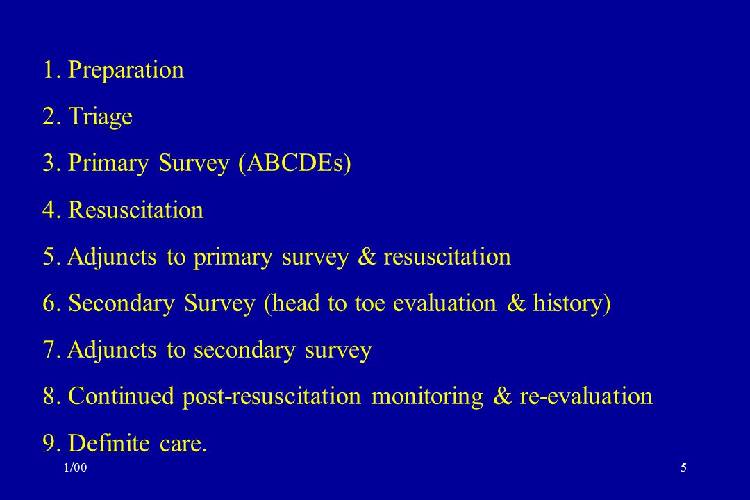 3. Primary Survey (ABCDEs) 4. Resuscitation