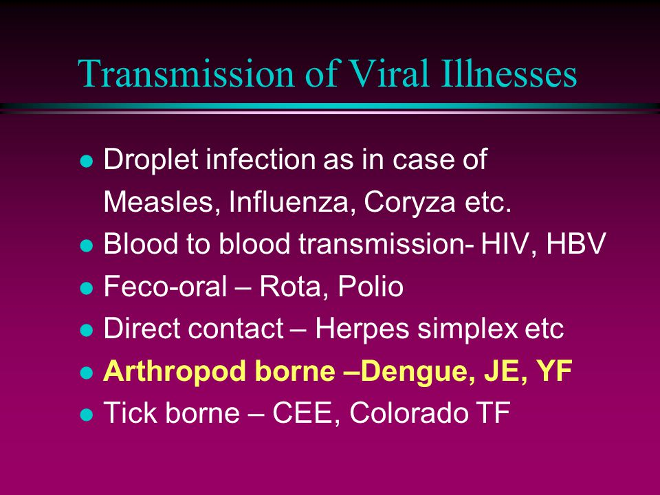 Transmission of Viral Illnesses