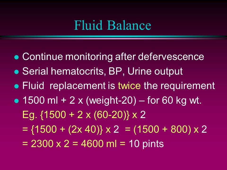Fluid Balance Continue monitoring after defervescence