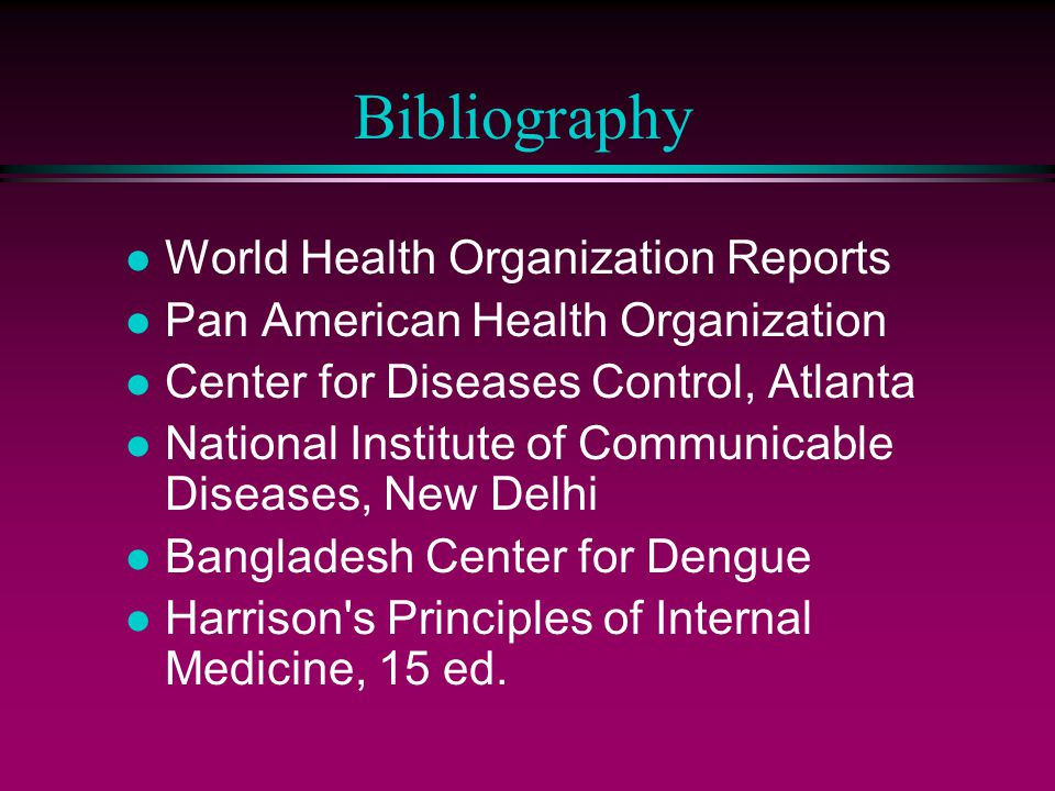 Bibliography World Health Organization Reports
