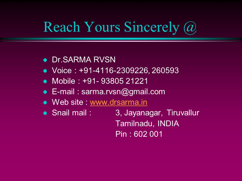 Reach Yours Sincerely @