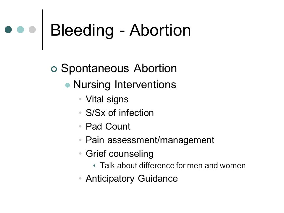 Bleeding - Abortion Spontaneous Abortion Nursing Interventions