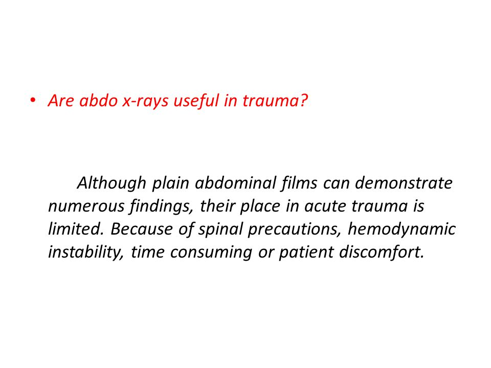 Are abdo x-rays useful in trauma