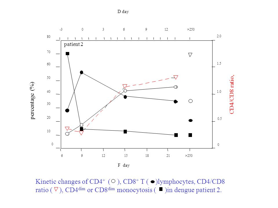 Kinetic changes of CD4+ ( ), CD8+ T ( )lymphocytes, CD4/CD8
