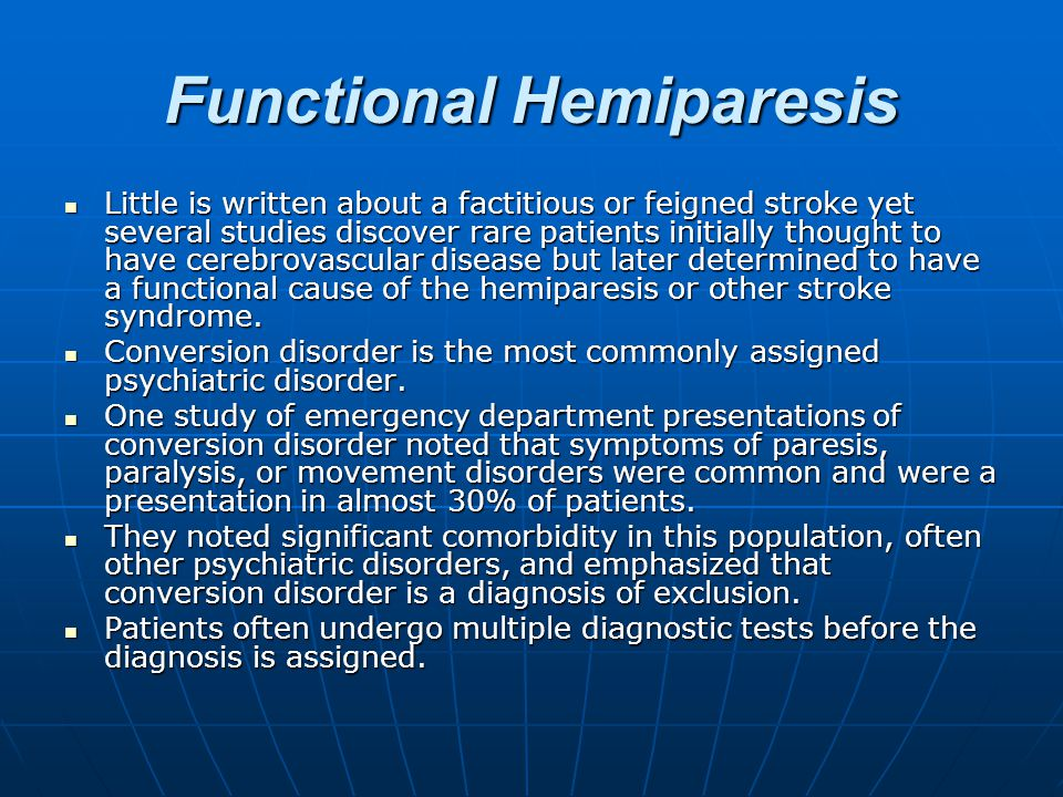 Functional Hemiparesis