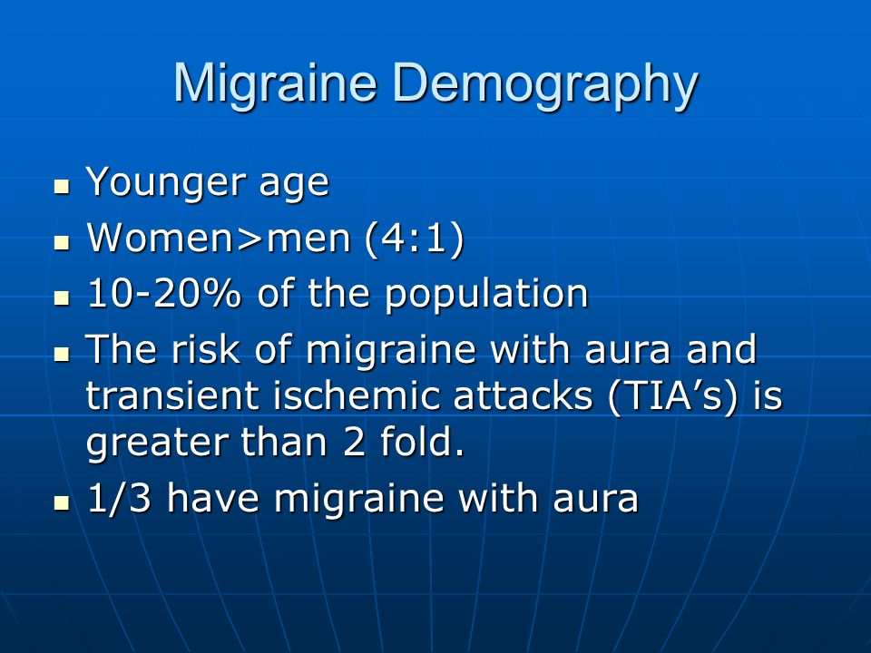 Migraine Demography Younger age Women>men (4:1)