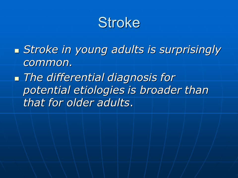 early adult stroke