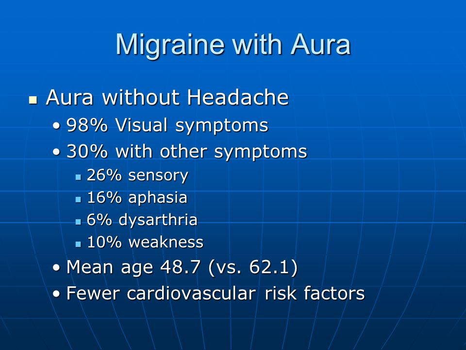 Migraine with Aura Aura without Headache 98% Visual symptoms