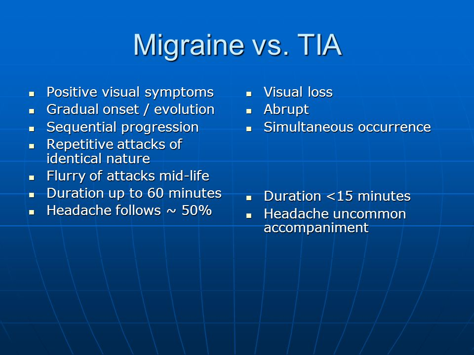 Migraine vs. TIA Positive visual symptoms Gradual onset / evolution