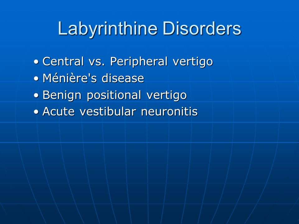 Labyrinthine Disorders