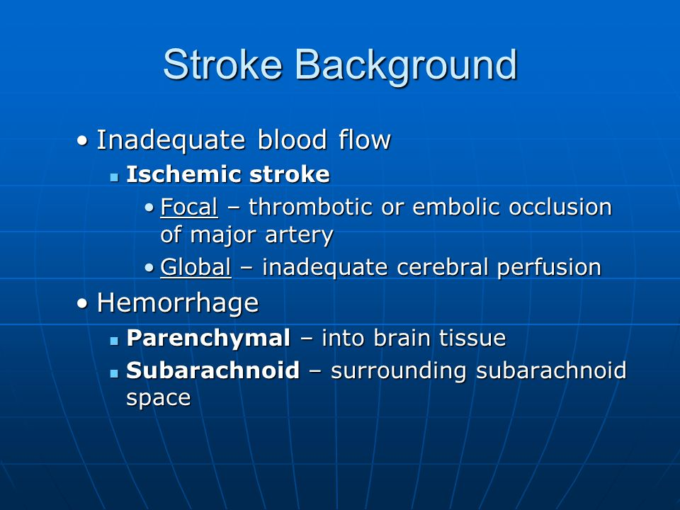 Stroke Background Inadequate blood flow Hemorrhage Ischemic stroke