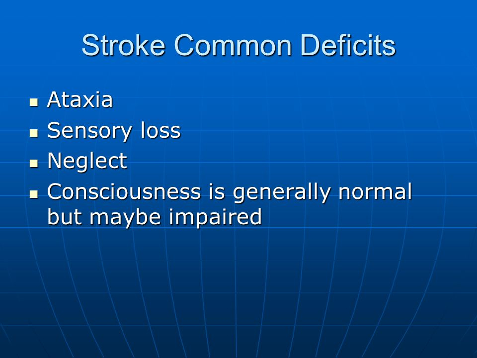 Stroke Common Deficits