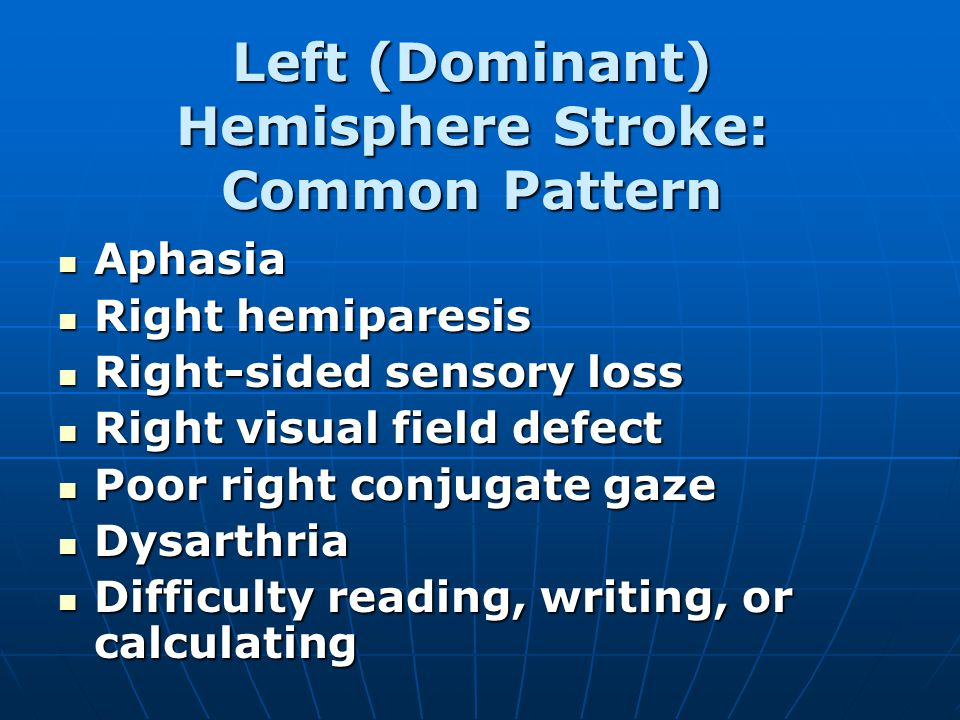 Left (Dominant) Hemisphere Stroke: Common Pattern