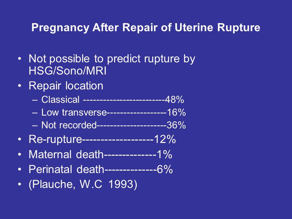 Pregnancy After Repair of Uterine Rupture