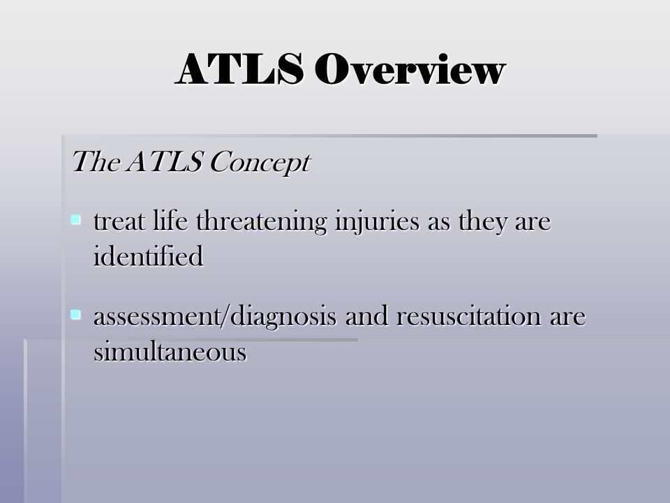 ATLS Overview The ATLS Concept