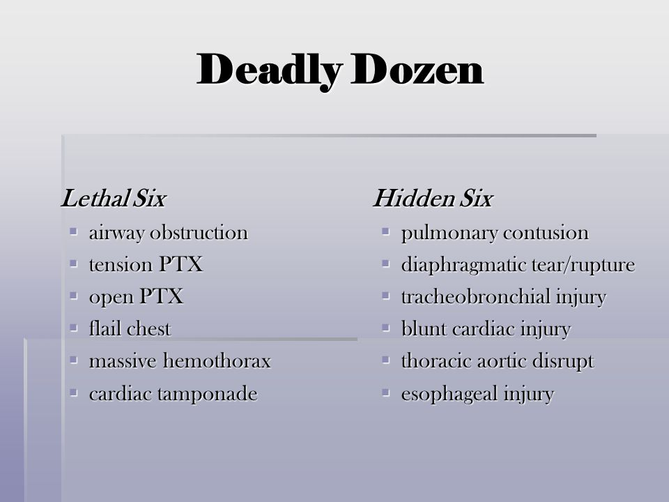 Deadly Dozen Lethal Six Hidden Six airway obstruction tension PTX