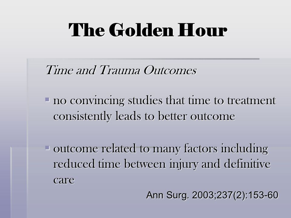 The Golden Hour Time and Trauma Outcomes