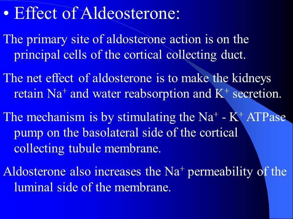 Effect of Aldeosterone: